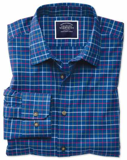 Slim fit blue multi brushed check shirt