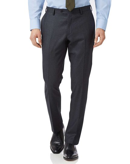 Charcoal and blue slim fit stripe flannel business suit trousers