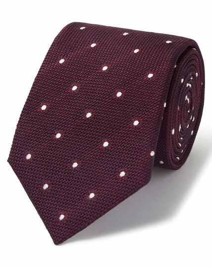 Cravate de luxe en jacquard de grenadine italienne bordeaux à pois