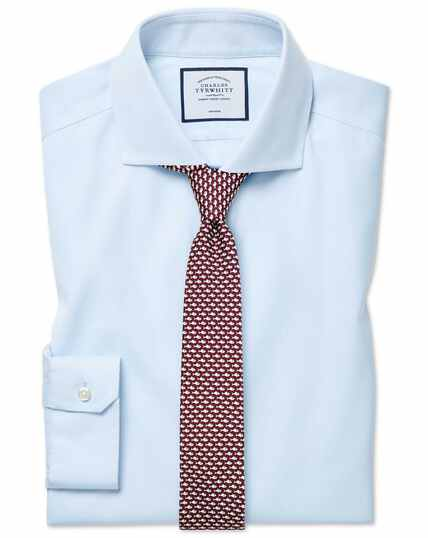 Super slim fit cutaway collar non-iron cotton stretch Oxford light blue shirt