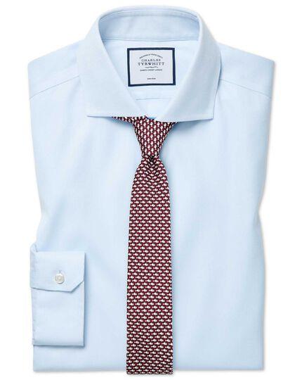 Super slim fit cutaway collar non-iron cotton stretch Oxford light blue shirt