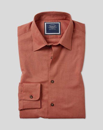 Ganzjährig tragbares Slim Fit Hemd aus Strukturgewebe in Orange