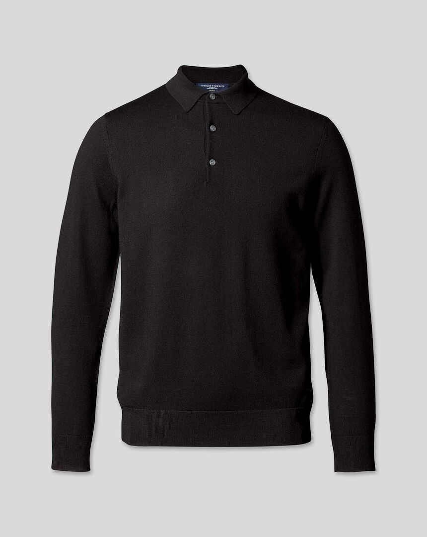 Merino Polo Sweater - Black