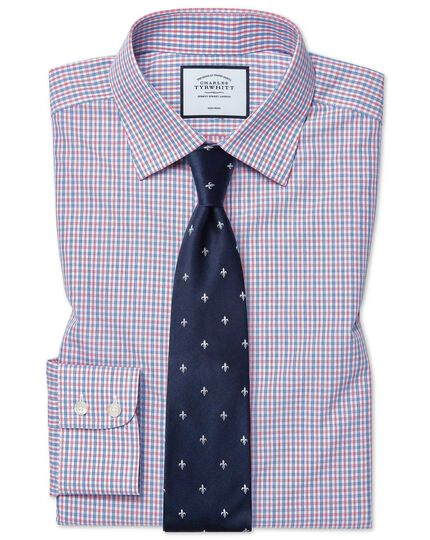 Classic fit non-iron blue and red check shirt