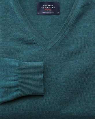 Teal merino wool v-neck sweater