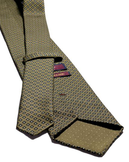 Sage green and navy geometric luxury English hand rolled silk tie