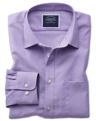 Slim fit non-iron Oxford purple plain shirt