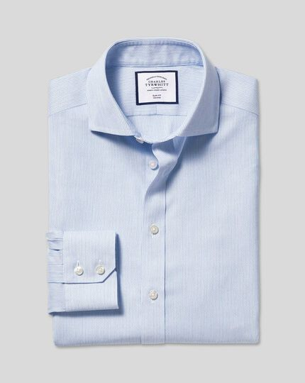 Spread Collar Non-Iron Cotton Stretch Oxford Stripe Shirt - Sky