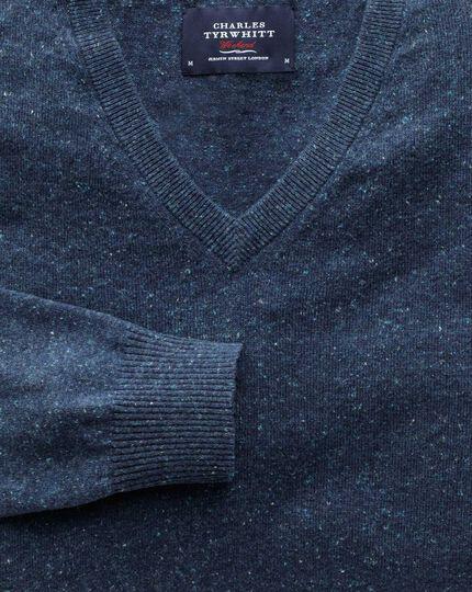 Baumwolle / Kaschmir Pullover mit V-Ausschnitt in Indigoblau