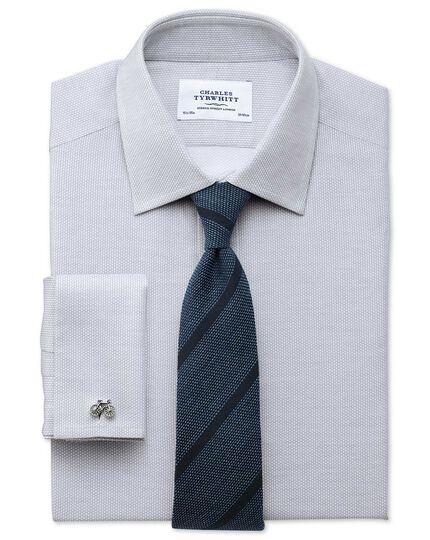 Classic fit Egyptian cotton diamond texture light grey shirt