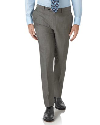 Grey slim fit Italian wool luxury suit pants