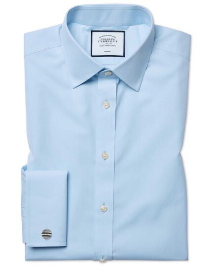Slim fit sky blue non-iron poplin shirt