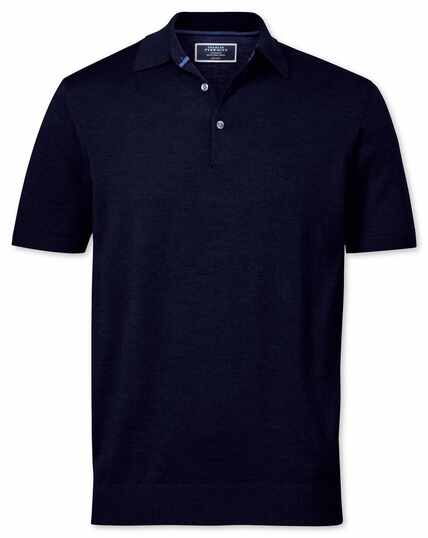 Navy merino wool polo collar short sleeve sweater