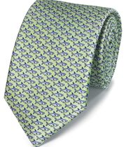 Light green shark print classic tie