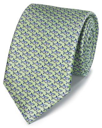 Klassische Krawatte mit Haimuster in Hellgrün