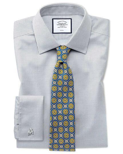 Blue circle medallion print silk English luxury tie