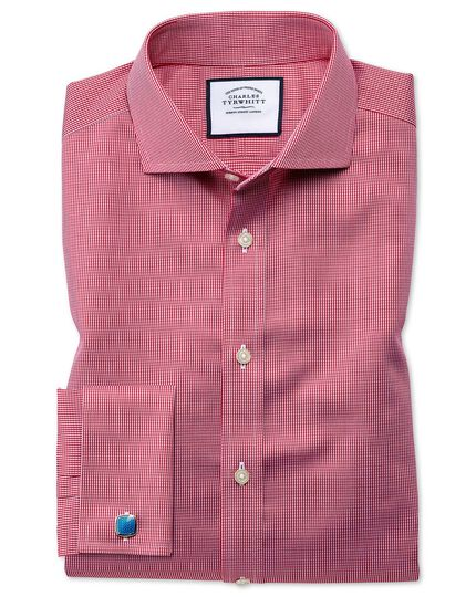 Cutaway Collar Non-Iron Puppytooth Shirt - Bright Pink