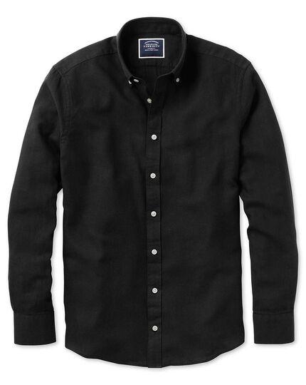 Slim Fit Twillhemd aus Baumwolle/Leinen in Schwarz