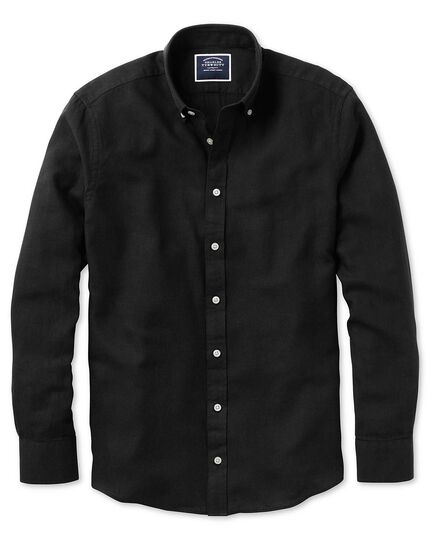 Slim fit black cotton linen twill shirt