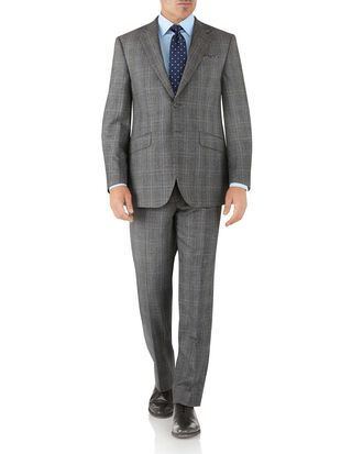 Silver Prince of Wales classic fit flannel business suit