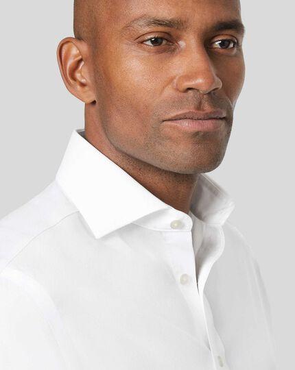 Spread Collar Non-Iron Cotton Stretch Shirt - White