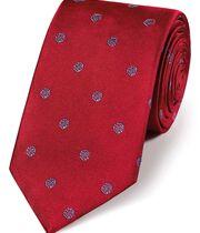 Cravate classique rouge et bleu ciel en soie à motif rose anglaise
