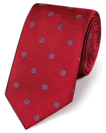 Red and sky blue silk English rose classic tie