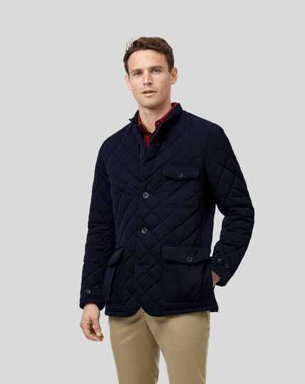Showerproof Quilted Sports Blazer - Navy