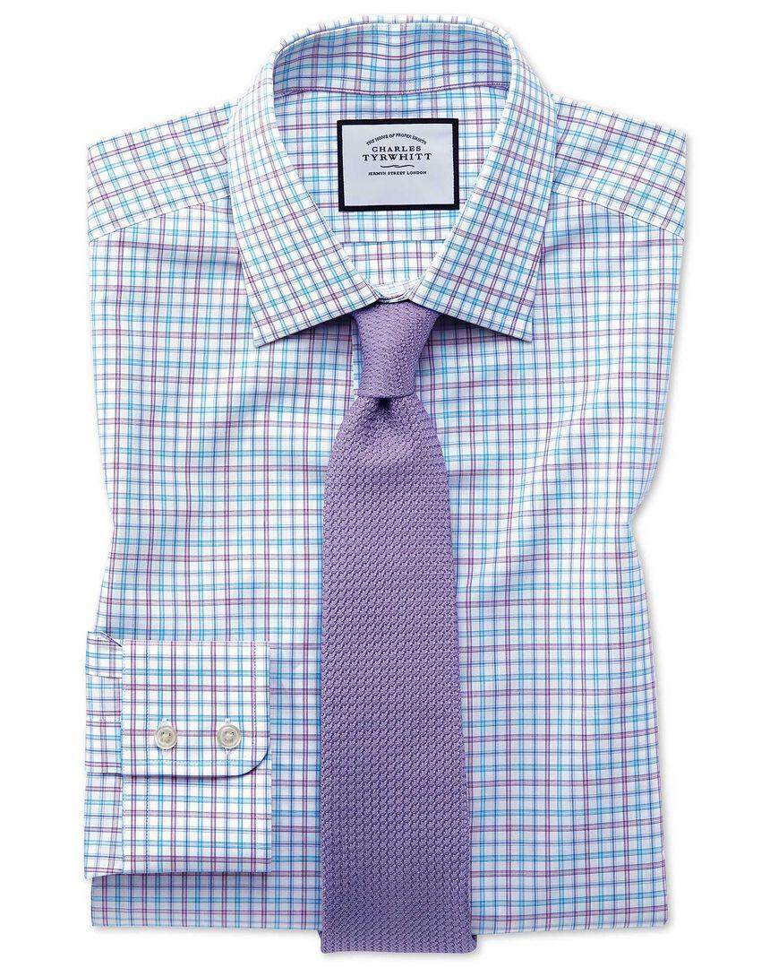 Classic fit Egyptian cotton poplin check purple and aqua shirt