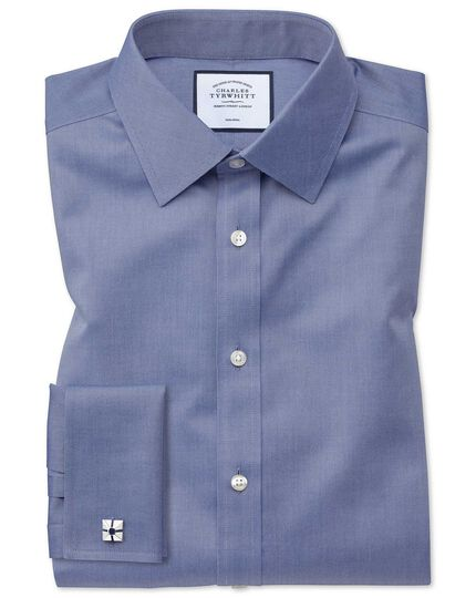 Classic fit mid-blue non-iron twill shirt
