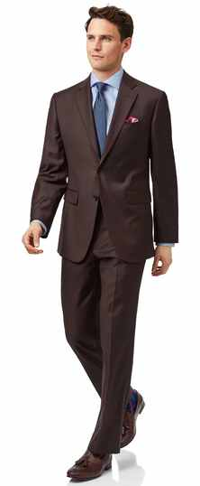 Brown classic fit twill business suit