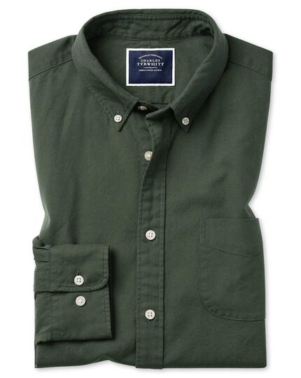 Extra slim fit green button-down washed Oxford plain shirt