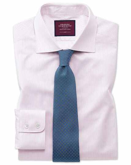 Slim fit luxury fine stripe pink shirt
