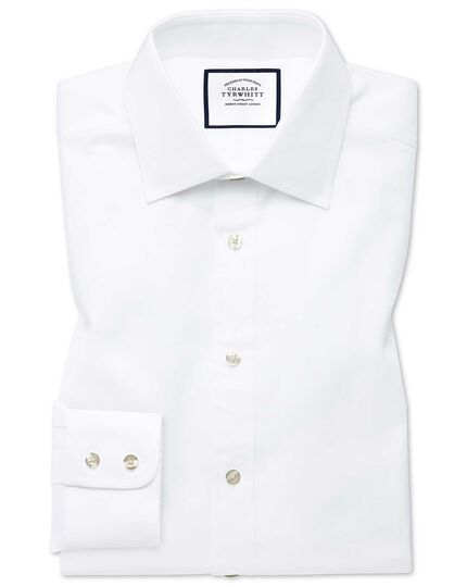 Classic fit white fine herringbone shirt