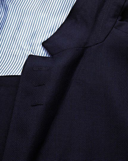 Slim fit navy Italian wool travel blazer