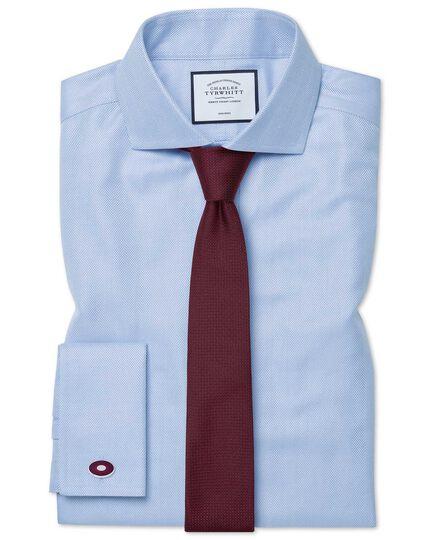 Bügelfreies Extra Slim Fit Hemd mit Haifischkragen in Himmelblau mit Fischgrätmuster