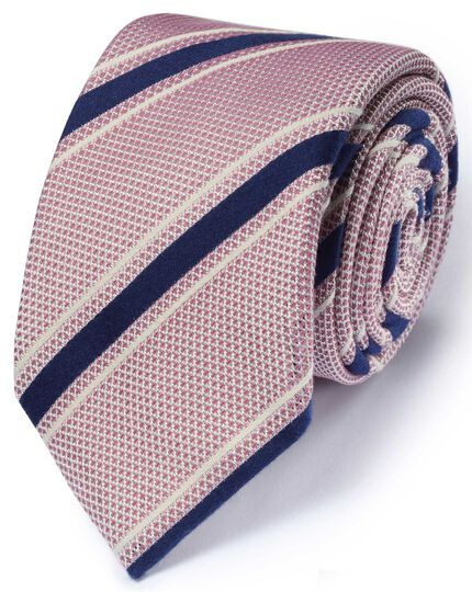 Light red silk mix Italian luxury stripe grenadine tie
