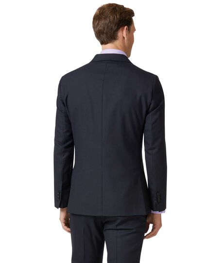 Midnight blue double breasted slim fit merino business suit jacket