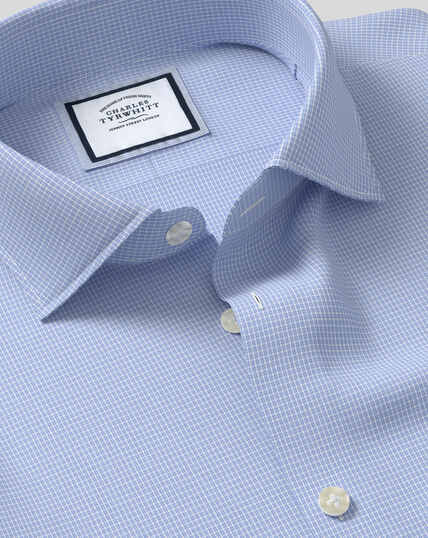 Business Casual Collar Softly Smart Check Shirt - Sky