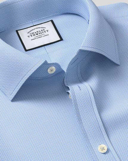 Classic Collar Zig Zag Weave Shirt - Blue