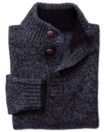 Navy mouline button neck sweater