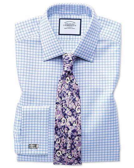 Purple floral cotton silk printed classic tie