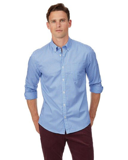 Extra slim fit soft washed non-iron stretch poplin gingham sky blue shirt