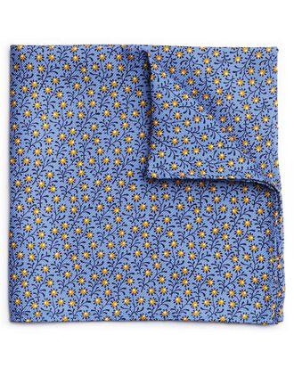 Sky blue silk mini floral printed pocket square