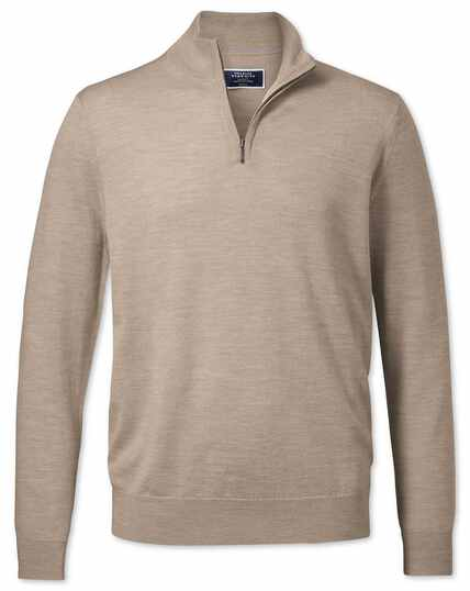 Stone merino zip neck jumper