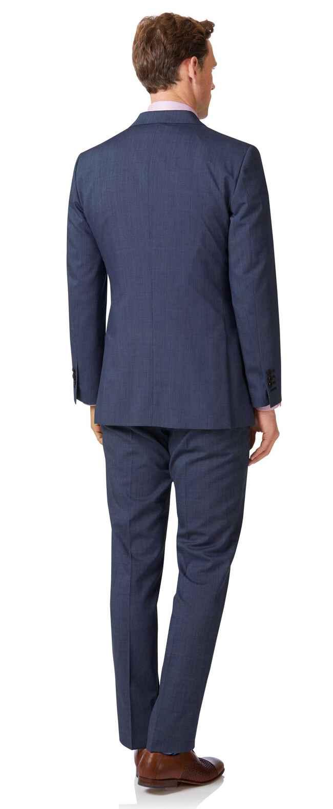 Costume bleu clair slim fit à tissage échelle