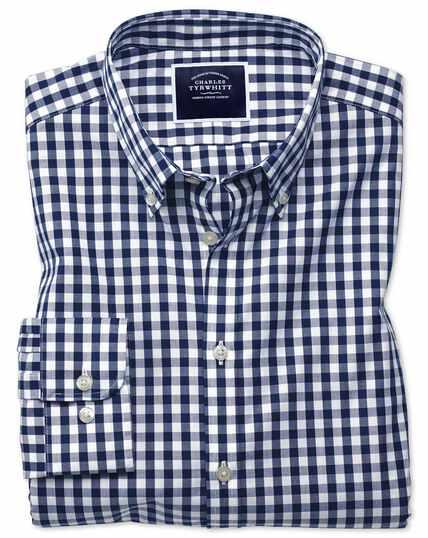 Extra slim fit non-iron navy gingham poplin shirt