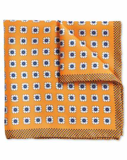 Yellow medallion print pocket square