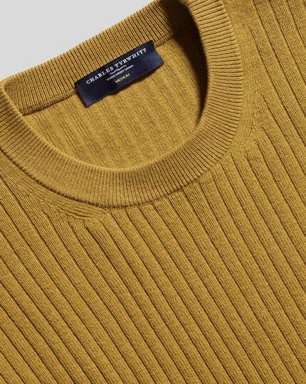 Wool Cotton Rib Sweater - Dark Yellow