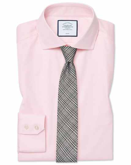 Spread Non-Iron Cotton Stretch Shirt - Pink